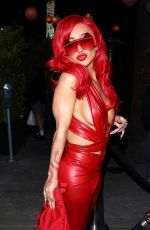 Nikita Dragun Paints the night red in show-stopping red leather jumpsuit in Los Angeles