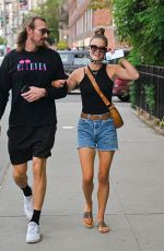 Nina Agdal Is pictured out on a stroll with a friend in New York