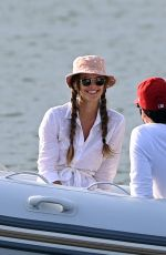 Nina Agdal Spotted on a boat in Sag Harbor, New York