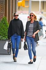 Olivia Palermo and Nicky Hilton take a walk after having lunch at Sant Ambroeus in Soho