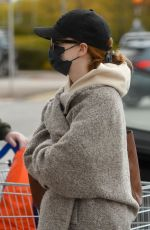 Phoebe Dynevor Seen having a break from filming as she get some shopping from a local supermarket along with a drink refreshment in Manchester