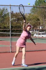 Phoebe Price Seen posing and hitting tennis balls at the courts on Tuesday in Los Angeles