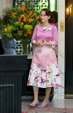 """Rachel Brosnahan Pictured at """"The Marvelous Mrs Maisel"""" set in Uptown, Manhattan"""