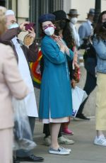 """Rachel Brosnahan Spotted on set filming new scenes for the """"The Marvelous Mrs. Maisel"""" in New York"""