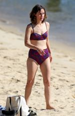 Rose Byrne Slipped into a red and purple patterned two-piece bikini in Sydney