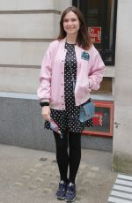 Sophie Ellis Bextor Looks stunning in a polka dot mini dress and a pink bomber jacket for her radio appearance at BBC Radio 2 in London