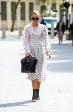 Vogue Williams Stuns in Polka dot dress for Global radio podcast in London