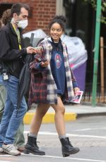 Whitney Peak On the set of the HBO Max series Gossip in New York City