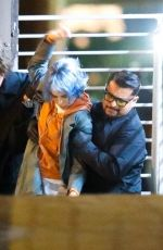 Zoe Kravitz Is spotted with blue hair on the set of 'KIMI' in Los Angeles