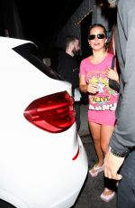 Addison Rae Donning a vibrant pink dress leaving Carter Gregory