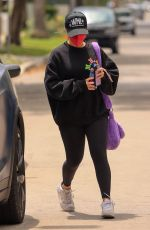 Addison Rae Heads to pilates highlighting mental health wearing a Madhappy black sweater