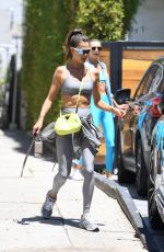 Alessandra Ambrosio Shows off her perfect abs as she leaves her pilates class in West Hollywood