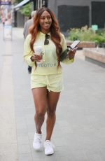 Alexandra Burke Wearing a yellow top and shorts at rehearsals for Joseph The Musical ahead of its opening in London