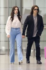 Anne Hathaway and Jared Leto hold hands while filming a scene for their Apple Tv Show WeCrashed in NYC