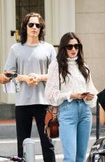 """Anne Hathaway Filming a scene for Apple TV """"WeCrashed"""" in Downtown Manhattan"""