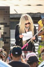 Avril Lavigne On the set of a music video in Los Angeles