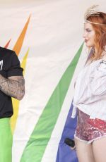 Bella Thorne Makes a surprise appearance at the Italian gay pride in Milan