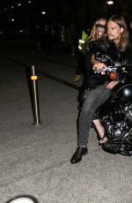 Camilla Franks Arrives at Fashion Week on a motorcycle in Sydney