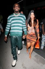 Cardi B and Offset seen arriving to BOA Steakhouse in Los Angeles