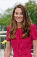 Catherine Duchess of Cambridge on an official visit to Connor Downs Academy in West Cornwall, England