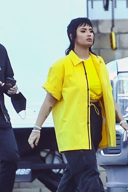 Demi Lovato Sporting a funky new mullet while on the set of a music video of an unreleased song in LA