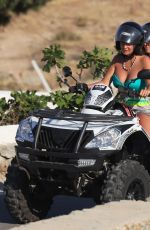 Elettra Lamborghini Enjoys a day of fun on the beach with a friend while vacationing in Mykonos