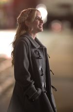 Emma Roberts On the set of About Fate in Boston