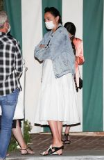 Gal Gadot Chats with her husband Yaron Varsano and friend after grabbing a late dinner at San Vicente Bungalows in West Hollywood