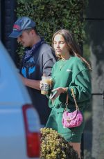 Hana Cross Goes out with a new boyfriend to grab an iced coffee at Alfred Coffee on Melrose Place in West Hollywood