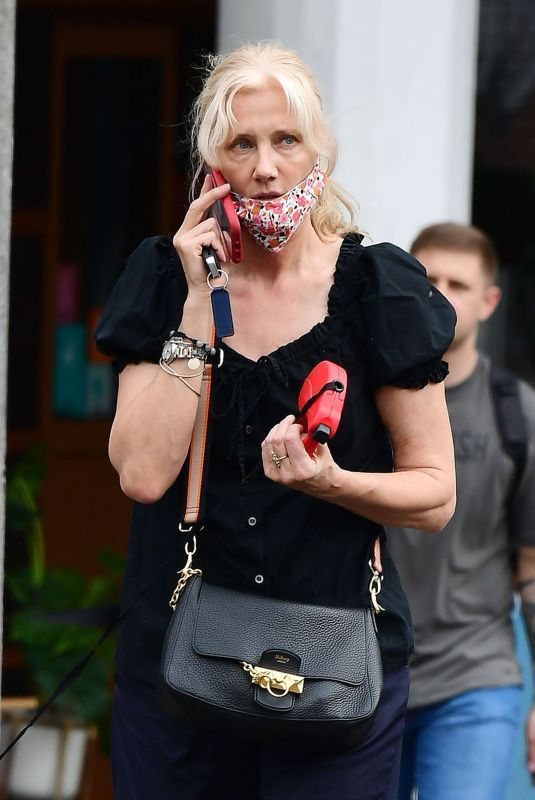 Joely Richardson Opts for a chic look as she take her pet pooch out for a walk in London