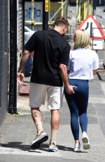 Jorgie Porter And her boyfriend Ollie Piotrowski Leave a photo shoot for his new clothing brand Transpire in Manchester