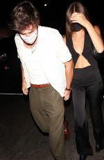 Kaia Gerber Keeps a low profile as she and her boyfriend Jacob Elordi step out to dinner in West Hollywood