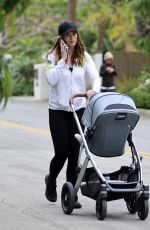 Katherine Schwarzenegger Out for her morning walk with baby Lyla Maria in her stroller as she talks on her cell phone in Santa Monica