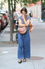 Katie Holmes Keeps it casual in jeans and a striped t-shirt while out for a stroll on Saturday afternoon in New York