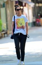 Katie Holmes Wears a cool-looking MADONNA Blonde Ambition World Tour 1990 Tee and sweat pants while out in the Big Apple