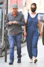 Katie Holmes Wears blue overalls in New York City