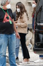"""Lily Collins Arriving on the set of """"Emily in Paris"""" in Paris, France"""
