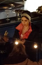 Lily Collins At Emily in Paris TV Show on set filming, Series 2 in Paris