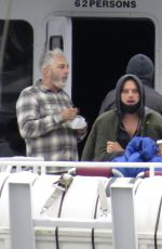 Lily James Heads out on a boat to film a scene for