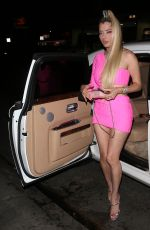 Mandana Bolourchi Wears a barely there pink mini dress for a nite out at Delilah Night Club in West Hollywood