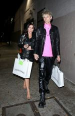 Megan Fox and her beau MGK coordinate in black leather while leaving an event at Chrome Hearts in Hollywood