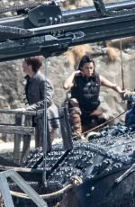 Michelle Rodriguez Shoot scenes for dungeons and dragons film Epic in Carrickfergus, Northern Ireland