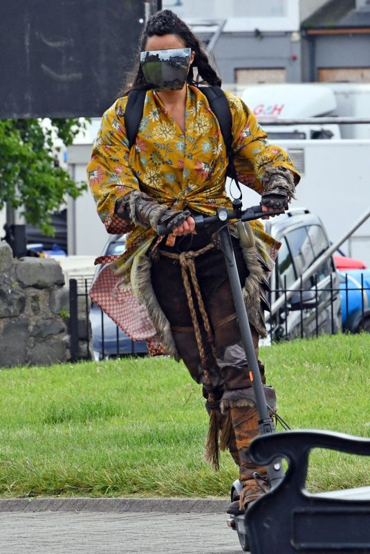 """Michelle Rodriguez Travels around on a scooter inbetween filming """"Dungeons And Dragons"""" at Carrickfergus Castle"""