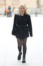 Mollie King Looks elegant in a black jacket and skirt at BBC Radio 1 studio in London