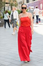 Myleene Klass Nails summer chic in bright red top and trousers at Smooth radio in London