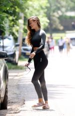 Nina Agdal Is all smiles after teaching a Yoga Class in Amagansett Hamptons New York