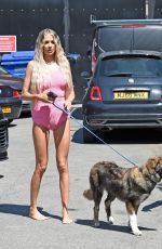 Olivia Attwood At a photoshoot wearing her sexy matching pink top and shorts in Manchester