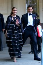 """Olivia Palermo Pictured leaving their apartment on their way to the """"NYBG Spring Gala"""