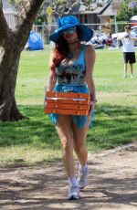Phoebe Price Seen posing with pizza boxes at the park on Monday in Los Angeles