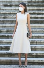 Queen Letizia Attends the inauguration of Emila Pardo Bazan exhibition at the National library in Madrid